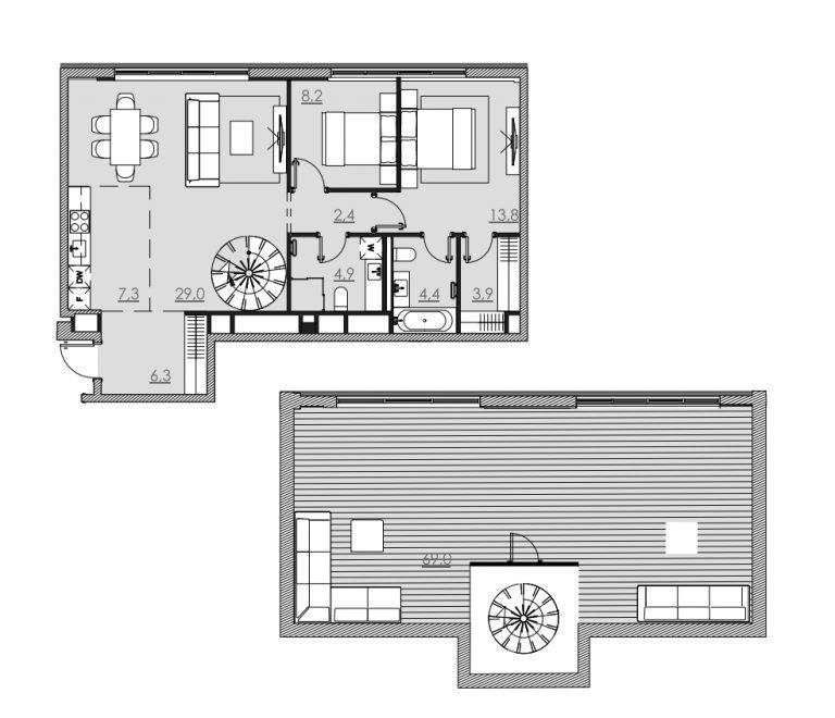 Пентхаус 143,00 м² ЖК «Bolshevik (Большевик)»